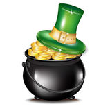 Golden coins in black pot and hat Stock Photo