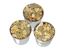 Golden Coins in a Bucket Stock Photo