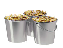 Golden Coins in a Bucket Stock Image