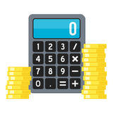 Golden Coins & Calculator Flat Icon on White. Small calculator with stack of golden coins flat icon, isolated on white background. Eps file available Stock Photo