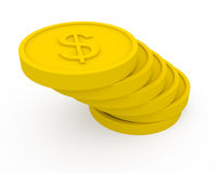 Golden coins in cartoon style Royalty Free Stock Images