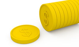 Golden coins in cartoon style Stock Photo