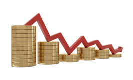 Free Golden Coins Chart And Red Line Royalty Free Stock Image - 18033786
