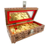 Golden coins in a chest Royalty Free Stock Image
