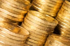 Golden coins close up Royalty Free Stock Photo