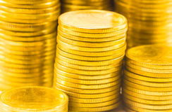 Golden coins close up background Royalty Free Stock Photos