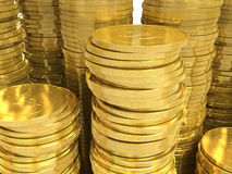 Golden coins. Closeup Royalty Free Stock Photos