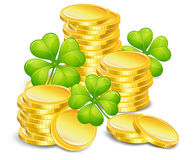 Golden coins with clover Stock Photography