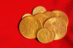 Golden coins collection. Golden coins from the end of nineteenth century. Rubles, dollars, swiss and french francs Stock Image