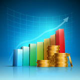 Golden coins and colorful bar graph. Stock Photography