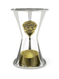 Golden coins are converted into the sand in the hourglass Stock Images