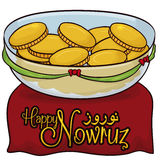 Golden Coins in Crystal Bowl and Red Carpet for Nowruz, Vector Illustration Royalty Free Stock Image