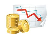 Golden coins and descending graph. Euro finance crisis concept - golden coins and descending graph -  illustration Royalty Free Stock Photo