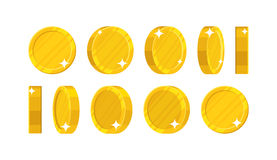 Golden coins in different positions. Balance profit, income statement and cash flow statement. Cartoon vector illustration on white background Royalty Free Stock Images