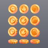 Golden coins in different positions. royalty free illustration