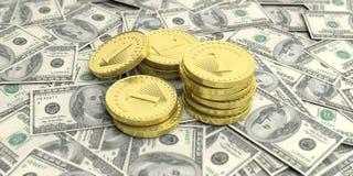 Golden coins on dollar banknotes background. 3d illustration. Golden coins on one hundred dollars banknotes. 3d illustration Stock Photo