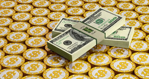 Golden Coins and Dollar bills Royalty Free Stock Image
