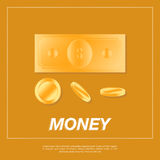 Golden coins and dollar on orange background. Royalty Free Stock Images