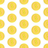 Golden coins with dollar sign seamless pattern. Money icons on white Royalty Free Stock Images