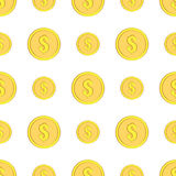 Golden coins with dollar sign seamless pattern. Money icons on white Stock Images