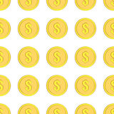 Golden coins with dollar sign seamless pattern. Money icons on white Royalty Free Stock Photo