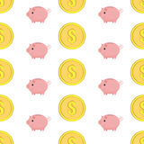 Golden coins with dollar sign seamless pattern. Pink piggy bank seamless pattern Royalty Free Stock Photography
