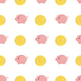 Golden coins with dollar sign seamless pattern. Pink piggy bank seamless pattern Royalty Free Stock Image