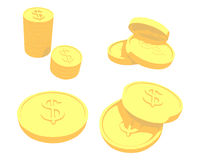 Golden coins with dollar sign Royalty Free Stock Photos