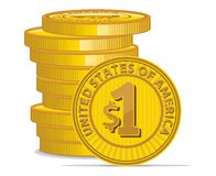 Golden coins with dollar sign Stock Image