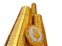 Golden coins with Dollar symbol Royalty Free Stock Photography