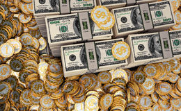 Golden coins with Dollar symbol and Dollar bills Royalty Free Stock Photography