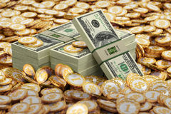 Golden coins with Dollar symbol and Dollar bills Royalty Free Stock Photos