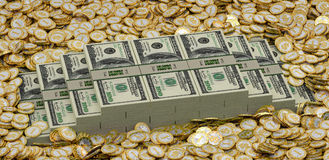 Golden coins with Dollar symbol and Dollar bills Stock Photo