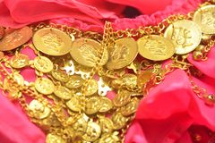 Golden coins on dress Royalty Free Stock Image