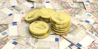Golden coins on euro banknotes background. 3d illustration. Golden coins on fifty euros banknotes. 3d illustration Royalty Free Stock Photos