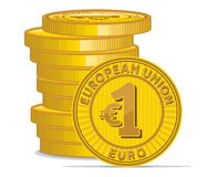 Golden coins with euro sign Stock Image