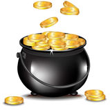 Golden coins falling in black pot Stock Photos