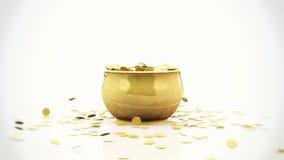 Golden coins falling into a golden pot, stock footage