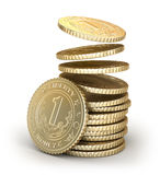 Golden coins falling in pile Stock Photo