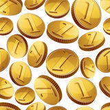 Golden coins falling seamless background. Stock Photo