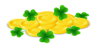 Golden coins with four leaf clover, vector illustration, for St. Patrick`s day. Golden coins with four leaf clover, vector illustration Royalty Free Stock Image