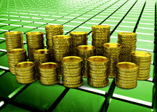 Golden coins on glossy green abstract background. 3D render Royalty Free Stock Photos