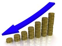 Golden coins graph. Business graph from golden coins with arrow Stock Photography