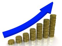 Golden coins graph. Business graph from golden coins with arrow Royalty Free Stock Photography