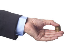 Golden Coins in Hand Stock Photography