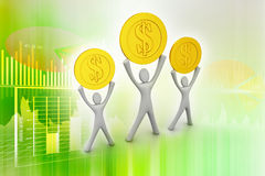 Golden coins and happy 3d small person Royalty Free Stock Images