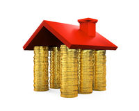 Golden Coins House. Isolated on white background. 3D render Royalty Free Stock Images