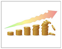 Golden coins increasing pillars and an arrow showing financial growth's risks and instability. Fund, profit, money or capital raising crush. Financial risks Royalty Free Stock Photo
