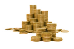 Golden coins isolated Stock Image