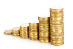 Golden coins isolated. Ukrainian coins Royalty Free Stock Images